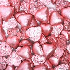 chocolate heart candy chocolate foil hearts light pink bulk candy store