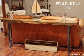 wood and metal console table with drawers remarkable rustic wood iron table diy picklee with and metal sofa on