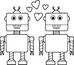 couple robot coloring wecoloringpage