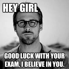 Exam Memes - hey girl good luck with your exam i believe in you heygirl1