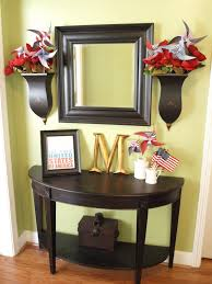 Blue Entryway Table by Decorations Interesting Foyer Decorating With Dark Blue Wall