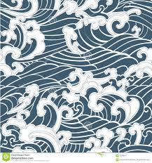 pattern seamless ocean waves hand draw asian style stock vector