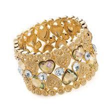 beaded heart bracelet images Gold crystal effect heart beaded elasticated bracelet sienna sixteen png