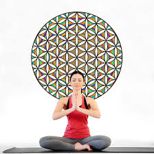 geometric wall stickers tagged flower of life art wall sticker rainbow sacred geometry yoga studio wall decal