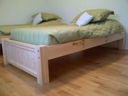 Maple Wood Bedroom Furniture Brown Varnished Maple Wood Bed Frame With Rectangular Headboard
