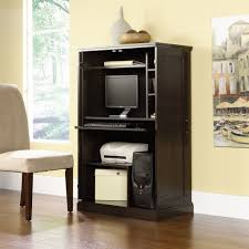 Computer Desk With Cabinets Brown Storage Desk Armoire Computer Workstation