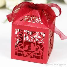 Heart Shaped Candy Boxes Wholesale Mini Paper Candy Box Birds Heart Design Wedding Party Sweetmeat