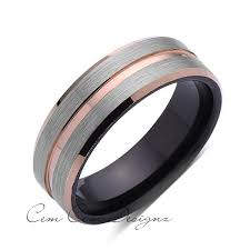 black wedding rings for 8mm unique gray brushed gold groove tungsten ring black