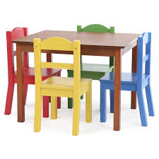 Ebay Garden Table And Chairs Tot Tutors Focus Wood Table And 4 Primary Colored Chairs Set