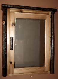rustic hickory log medicine cabinet u2014 barn wood furniture rustic
