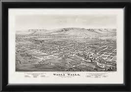 Walla Walla Washington Map by Walla Walla Wa 1876 Vintage City Maps Restored City Maps
