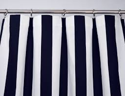 navy blue white modern vertical stripe curtains rod pocket shop
