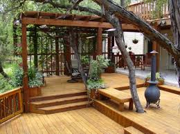 Patios And Decks Designs Others Captivating Wood Patio Deck Design With Cast Iron