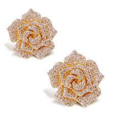 allergy free jewelry new look luxury flower shape stud earrings aaa cubic zirconia big