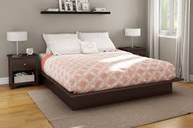 Flat Platform Bed Frame Bedroom Brown Painted Oak King Size Bed Frame Which Prettify With