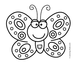 smiling butterfly coloring pages for kids printable free clip