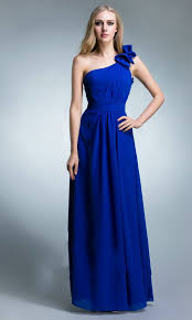 royal blue bridesmaid dresses buy cheap royal blue chiffon one floral shoulder bridesmaid dress