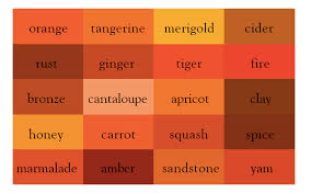 colour shades with names names of shades of orange beauteous it s wine not dark red here