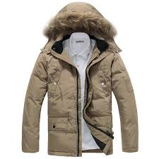 lined hooded winter parka for men with chest pockets