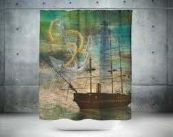 Nautical Anchor Shower Curtain Nautical Shower Curtain Etsy