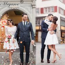 robe de mari e dentelle manche longue robe de mariage 2017 robes de mariée courte dentelle manches