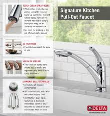 delta signature single handle pull out sprayer kitchen faucet in