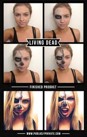 half face halloween makeup ideas best halloween costumes and diy makeup living dead half skeleton