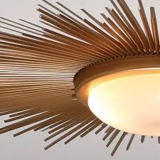 Contemporary Ceiling Lights Flush Mount Global Views 991411 Sunburst Gold Modern Contemporary Flush Modern