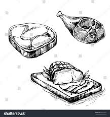 hand drawn sketch meat products set stock vector 662515855