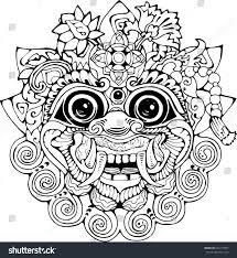 halo warthog drawing iilustration thai mask black white drawing stock vector 643713007