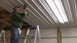 pole barn menard u0027s pro rib steel ceiling install with panellift
