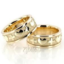 christian wedding bands gold cross heart christian wedding ring set his and hers