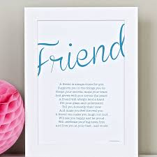 friend personalised print with friendship poem by bespoke verse