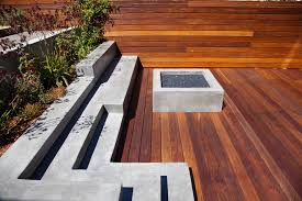 Decks With Benches Built In Concrete Fire Pit Deck Contemporary With Bench Built In Concrete