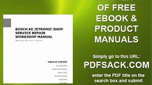 bosch ke jetronic shop service repair workshop manual video
