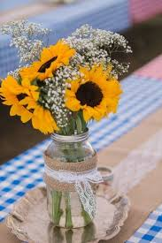 table centerpieces with sunflowers picnic themed washington wedding burlap runners mason jar