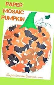 Fun Fall Kids Crafts - paper mosaic pumpkin craft fun fall autumn crafts for kids