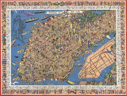 New York Map Manhattan by Detailed Illustrated Map From The 1950s Shows Over 300