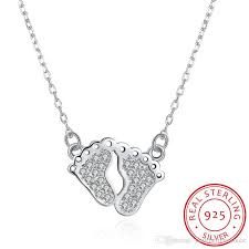 sted necklaces sparkling pave setting baby s pendant link chain 925 sterling