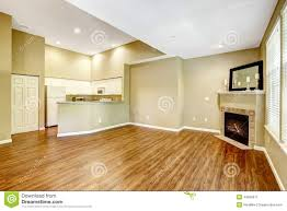 empty apartment with open floor plan living room with fireplac