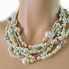 chunky pearl crystal necklace images Shop pink pearl statement necklace on wanelo jpg