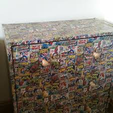 marvel wrapping paper reved plain pine chest of drawers decopatch with marvel comics