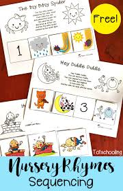free nursery rhymes sequencing printables totschooling toddler