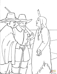 cute pilgrim boy and plymouth rock rooster coloring page free