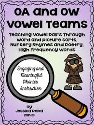 long o vowel team oa and ow word sorts poems worksheets by