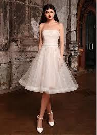 sleeveless wedding dress buy discount pretty tulle strapless neckline knee length a line