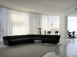 Contemporary Living Room Curtain Ideas Motorized Sheer Pinch Pleat Curtain Installed On A Curved Glass Wall