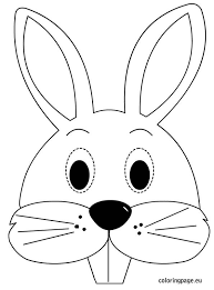 bunny mask template rabbit face coloring page 595x804px 27792