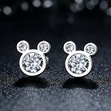mickey mouse earrings stunning sterling silver mickey mouse stud earrings