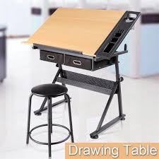 adjustable height drafting table yaheetech adjustable height drawing table drafting desk with p2